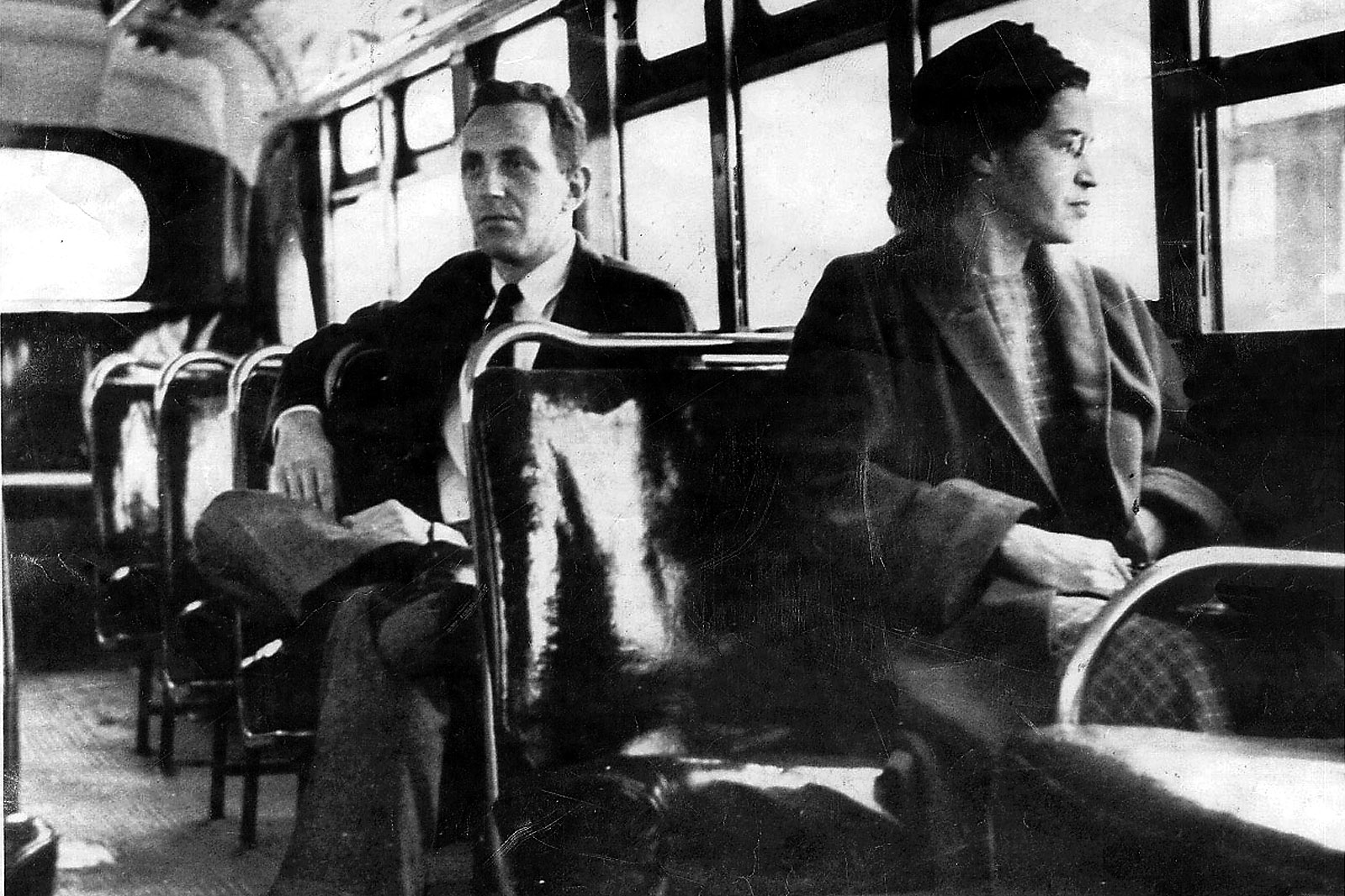 This an undated photo shows Rosa Parks riding on the Montgomery Area Transit System bus. Parks refused to give up her seat on a Montgomery bus on Dec. 1, 1955, and ignited the boycott that led to a federal court ruling against segregation in public transportation. In 1955, Montgomery's racially segregated buses carried 30,000 to 40,000 blacks each day. At a time when interest in civil rights memorabilia is rekindled, a lifetime's worth of Parks' belongings _ among them her Presidential Medal of Freedom _ sits in a New York warehouse, unseen and unsold. (AP Photo/Daily Advertiser)