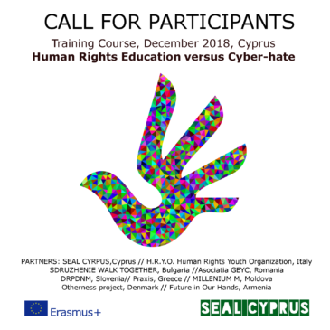 "(Italiano) Ricerca 3 partecipanti per training course ""Human Rights Education vs Cyber-hate"" 02-08 Dicembre a Cipro"