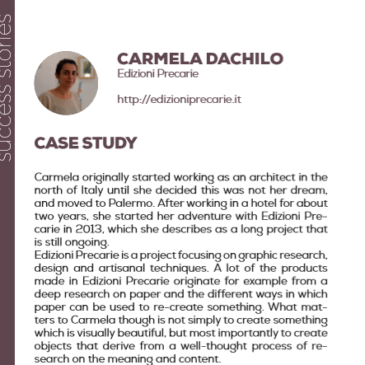 (English) Carmela Dacchille with Edizioni precarie: a success story enhanced by the project Pandora