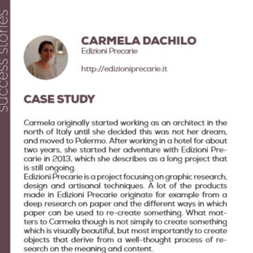 Carmela Dacchille with Edizioni precarie: a success story enhanced by the project Pandora