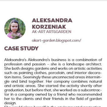 (English) Aleksandra Korzeniak with Ak-art art&garden: a success story enhanced by the project Pandora