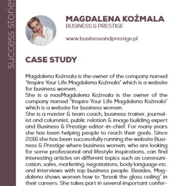 Magdalena Koźmala with Business and prestige: a success story enhanced by the project Pandora
