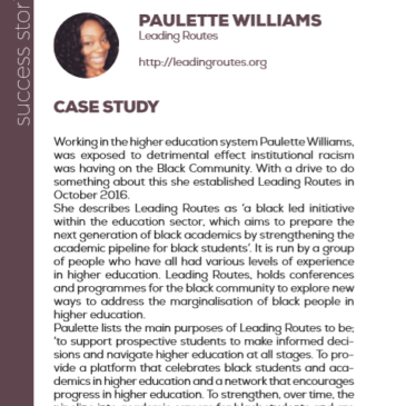(English) Paulette Williams with Leading Routes: a success story enhanced by the project Pandora